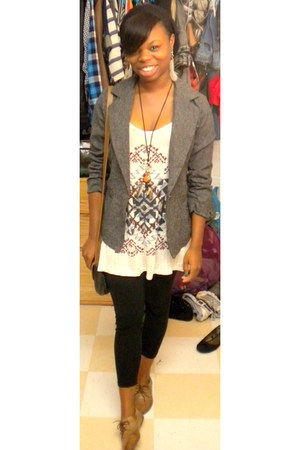 heather gray Forever 21 blazer - black Charlotte Russe leggings