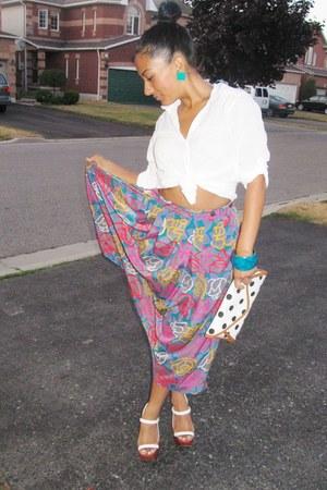 Charles Jourdan heels - Aldo purse - vintage skirt - H&M blouse