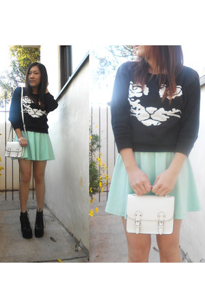 Udobuy sweater - mint skater rire boutique dress - white satchel H&amp;M bag