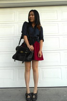 button down H&M blouse - wholesale-dressnet bag - Forever 21 skirt