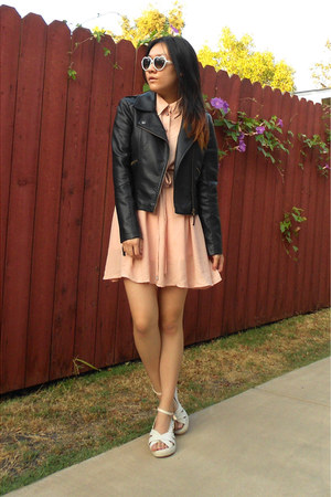 leather Sheinside jacket - mixmoss dress - crochet lace Sammy dress wedges