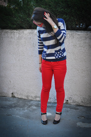 navy stripe Primark sweater - red Forever 21 jeans