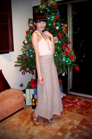 light pink Mango top - tan Esprit skirt - tawny Forgot shoes - gold DIY necklace