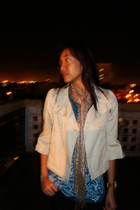 beige Old Navy blazer - beige Forgot accessories - blue Greenhills top