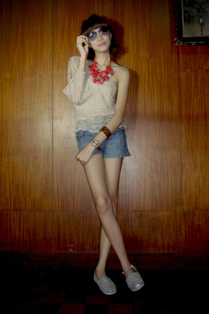 silver Toms shoes - blue denim Guess shorts - beige lace top - ruby red necklace