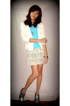 beige cardigan - blue top - gold Robinsons Dept Store skirt - silver thrifted sh