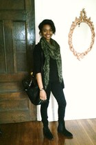 green Zara scarf - black Zara bag - black Zara cardigan - black Zara pants
