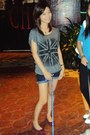 Charcoal-gray-blouse-shorts-red-shoes