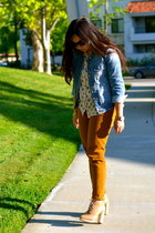 bronze Forever 21 pants - camel loeffler randall boots - blue denim JCrew jacket