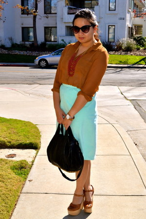 Forever21 blouse - necklace - vintage skirt - NYLA pumps