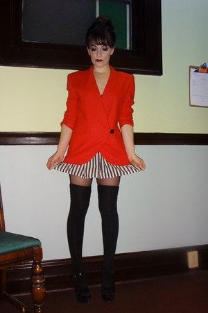 red 80s thrifted vintage blazer - black sheer Target tights
