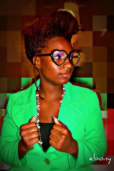 green blazer - black shirt - brown glasses - white necklace