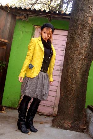 gray Primark skirt - gold Ekle blazer - black vintage belt - black vintage scarf