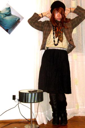 black Pavillion skirt - yellow vintage shirt - brown Only jacket - brown vintage