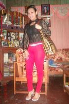 blouse - spike bangles bracelet - braided belt - colored pants pants
