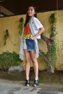 Pow-just-chic-shirt-bubbles-shorts-mse-clogs-ear-cuff-oasap-earrings