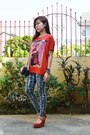 Orange-platforms-sophie-paris-heels-charcoal-gray-snakeskin-redhead-leggings