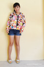 Navy-forever-21-shorts-light-yellow-floral-print-moy-loafers