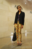 mustard floral pants - black Marithe Francois Girbaud bag