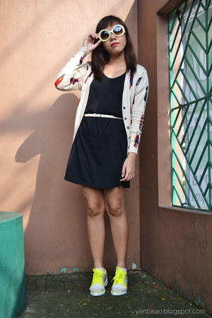 cream OASAP cardigan - yellow traffic shoes - black mint dress