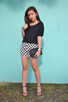 white Just Chic shorts - black diy karimadon top