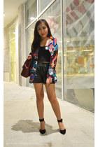 black leather OASAP shorts - blue random from Bangkok blouse