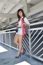 Pink-scarf-light-blue-denim-highwaist-fashion-infinity-shorts-white-top