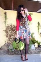 olive green vintage bag - black tattered stockings - brown floral sheer blouse