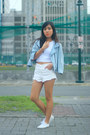 Sky-blue-denim-thrifted-jacket-white-high-waisted-topshop-shorts