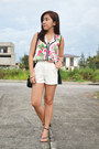 Black-black-and-white-redhead-shorts-white-shopaholic-blouse