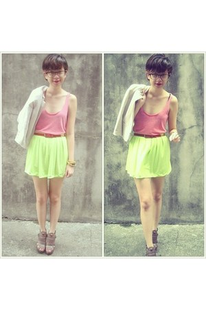 neon Jaciendera skirt - Aldo shoes - cropped H&M jacket - tank Forever 21 top