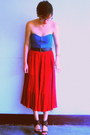Grandmas-red-vintage-skirt-teal-tube-oxygen-top-hk-heels