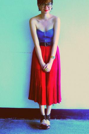 grandmas red vintage skirt - teal tube Oxygen top - HK heels