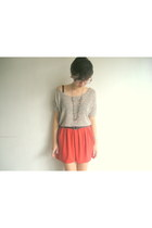 knitted Forever21 blouse - copper tennis Jaciendera skirt - Guess heels