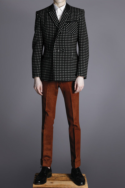 white shirt - brick red pants - black Duly Equipped suit