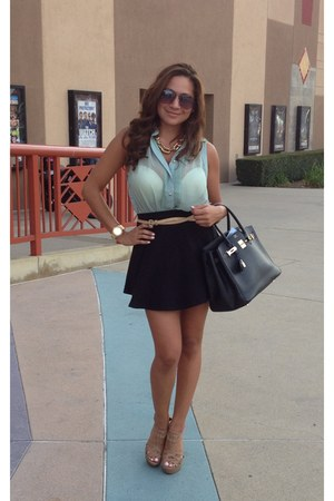 gold watch - black skirt - light blue top - gold necklace - nude belt