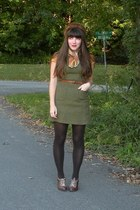 dark brown poetic licence heels - mustard dress - brown mink vintage hat