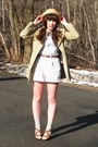 Brown-simply-vera-shoes-camel-trench-h-m-coat-light-yellow-straw-thrifted-ha