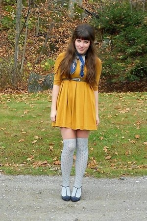 mustard H&M dress - navy Mirage coat - navy thrifted scarf