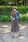 Dark-brown-polka-dot-midi-thrifted-dress-light-yellow-straw-thrifted-hat