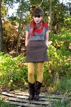 brown vintage skirt - brown Aldo boots - red thrifted scarf - gold HUE tights