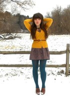 charcoal gray Forever 21 dress - teal simply vera tights - mustard H&M cardigan