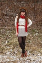 ruby red knit TJMaxx scarf - brown mink vintage hat - cream wool llbean sweater