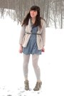 Neutral-go-jane-boots-light-blue-chambray-tunic-dress-beige-vintage-sweater-