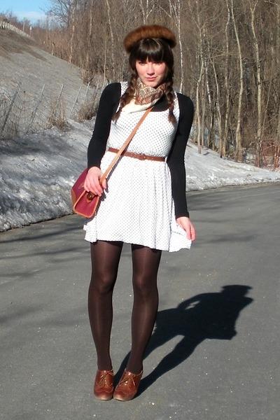 brown blimey oxfords seychelles shoes - white polka dot Forever 21 dress - black