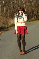 cream sheep thrifted sweater - brown HUE tights - maroon feather thrifted skirt