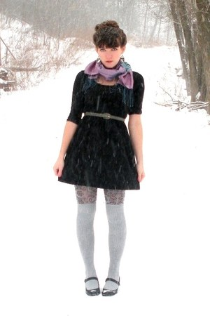 black mary jane Payless shoes - black TJMaxx dress - periwinkle TJMaxx tights -