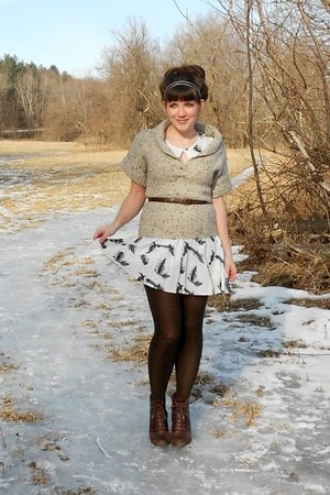 ivory feather modcloth dress - dark brown cheerio seychelles boots