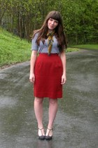 navy striped Old Navy dress - gold vintage scarf - burnt orange thrifted skirt -