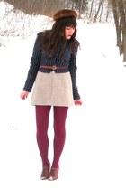 brown blimey oxfords seychelles shoes - dark brown mink vintage hat - forest gre